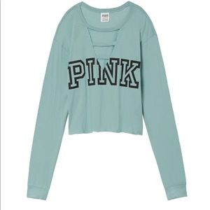 VS PINK Perfect Ladder Front Crop Tee